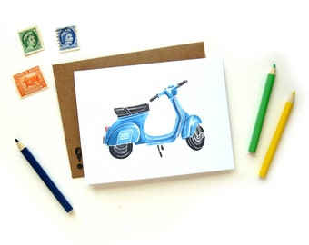 Blue Vespa Scooter Greeting Card   Handpainted Scooter Small Greeting Card Kraft Envelope