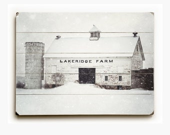 Rustic White Barn in the Snow Wood Sign, Wood Wall Art, Farmhouse Decor Barn Art, Country Landscape, White, Gray, Rustic Wood Art, Farm Art.