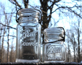 2 Ball ECLIPSE SQUARE Jars w/ Metal Bail & Glass Lids -1 Quart and 1 Pint Jar ~ Farmhouse Kitchen ~ Pantry Storage - Insurance w/Shipping