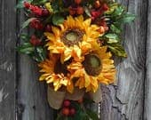 Spring Wreath , Spring Front Door Wreath , Autumn Wreath , Wreath ,  Door Wreath , Outdoor Wreath , Sunflower Wreath Swag