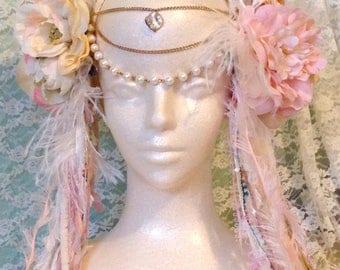 Goddess Headdress,Wedding, ivory, white, pink, festival, costumes, party