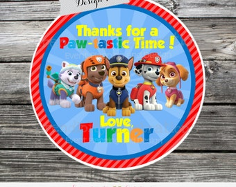Puppy Party Favor Tags, Puppy Stickers, Paw Patrol Birthday Party Stickers, Paw Patrol favor tags, Paw Patrol stickers, Paw Patrol party