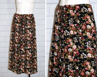 Vintage EXPRESS 90's Micro Floral Print Skirt / Button Down Gauzy Maxi Skirt / Size 9/10