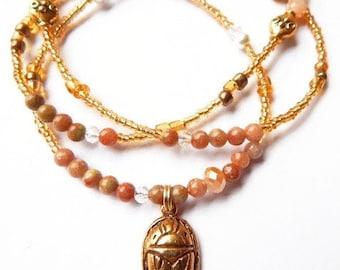 African Waist Beads, Jasper Scarab Ancient Egyptian Waist Beads, African Waistbeads, Scarab Belly Chain,
