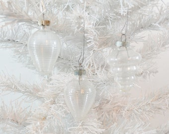 Vintage Clear Unsilvered Christmas Tree Ornaments Set of 3 Three Lantern Tornado RARE Shiny Brite WWII Era 1940's