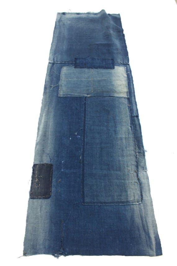 Japanese Indigo Cotton. Artisan Aizome Boro Textile. Blue Vintage Folk Fabric (Ref: 1594B)