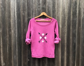 XOXO Valentine's Day Sweater, Vday Gift, Hearts and Arrows, Pink Sweatshirt, S,M,L,XL