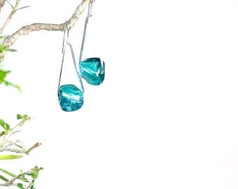 Aqua green glass and pure silver earrings