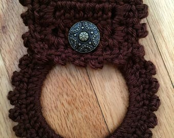 Hand crochet towel holder, Kitchen towel holder ready to ship