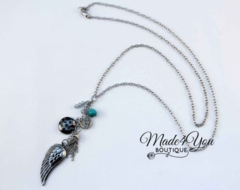Angel Wing Charm Necklace - Wing Bead Long Necklace