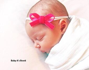 Hot Pink Baby Headband, Velvet Baby Headband, Baby Bow, Baby Headband, Hot Pink Headband, Baby Bow, Nylon Headband, Baby Girl Headband