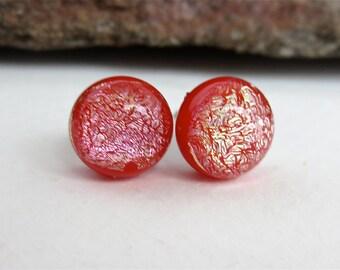 Sensitive Ears Titanium Post  9mm Red Shimmer Dichroic Glass Stud Earrings Hypoallergenic