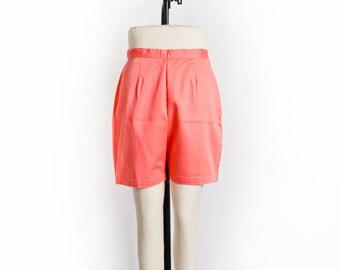 Vintage 60s Pants - High Waisted Peach  Cotton Pin Up Bermuda Shorts 1960s - Medium M