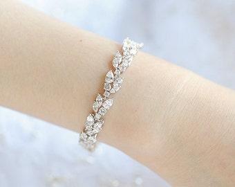 Bridal Bracelet, Rose Gold Crystal Wedding Bracelet,Gold Bridal Jewelry,Leaf Vine Tennis Bracelet,Marquise Teardrop Bridal Bracelet, YASMINE