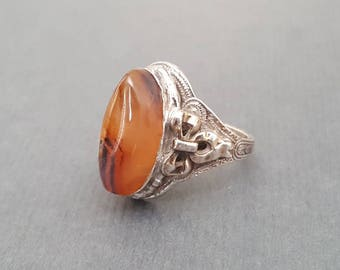 10k Sterling Art Deco Montana Agate Ring Clark & Coombs Size 5.25