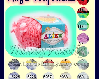 Alize Ponponella yarn. Hypoallergenic baby funny  yarn with pom pons. Alize Ponponella. Color Choice. DSH