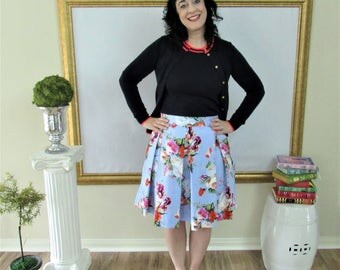 Periwinkle Blue Vintage Floral Pleated Hartley Skirt Custom made all sizes
