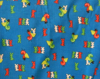70s Cotton Corduroy Juvenile Novelty Fabric Yardage 44 x 59 Inches Tiny Bunnies