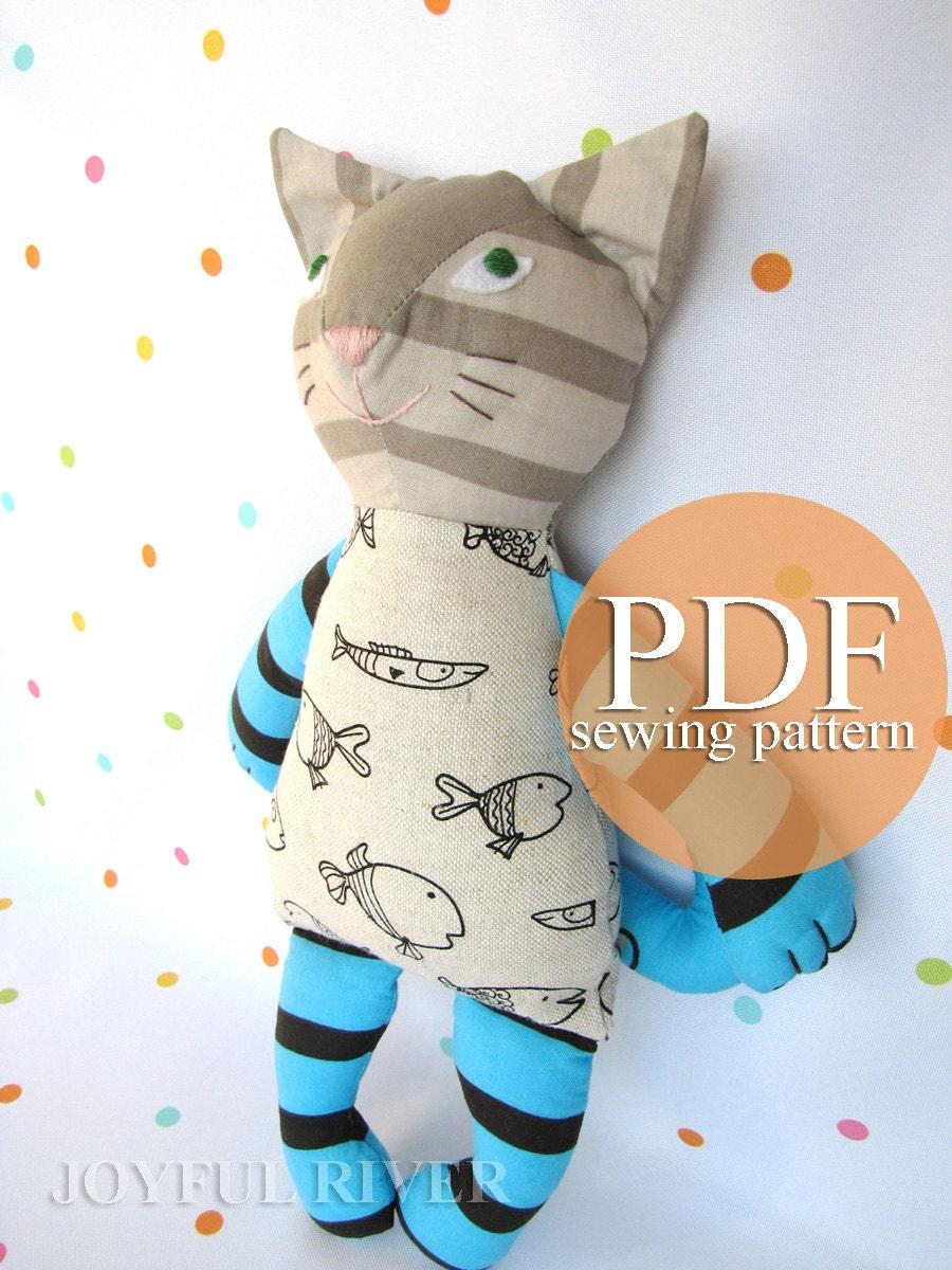 Cat Doll Sewing Pattern Pdf Stuffed Toy Cat Sewing