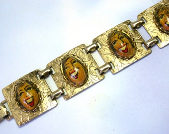 Hand Painted Unique Vintage CORLETTE BAYLOCK pistachio nut chunky handmade artist face bracelet, bracelet made from nuts, faces, lizones