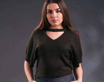 Khaki green sweater, wide sleeved sweater, knitted top, v-neck sweater, upcycled sweater, handmade sweater, unique sweater, choker collar