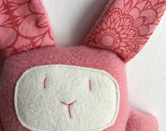 Rabbit stuffed small toy - pink- for babies, toddlers - Ready to ship