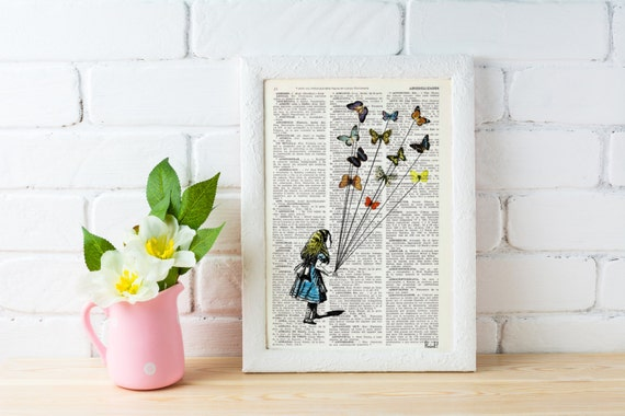 Alice in wonderland-  Alice and the flying butterflies- Alice in Wonderland Collage Print on Vintage Dictionary ALW023