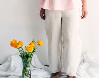 Women's baggy trousers 100% linen. Japanese style pants. Relaxed fit, elastic band waist. Sizes XS to XXL. Made to order.