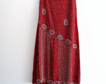 Red Silk  Chiffon Beaded Maxi Skirt