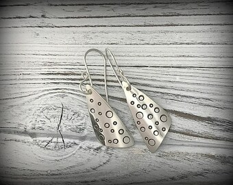 Mini Bubbles - Sterling Silver Stamped Earrings