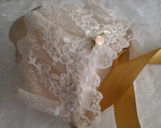 Newborn Baby Girl Ivory and Gold Lace Heirloom Baby Bonnet