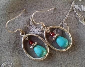 Silver hoop turquoise earrings, Brushed silver hoop earrings with turquoise teardrops red crystal