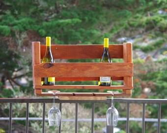 "Back To School Sale sale 24"" Reclaimed wood pallet Wine rack 6 bottle rustic kitchen farmhouse Furniture with wine glass holders farm barn p"