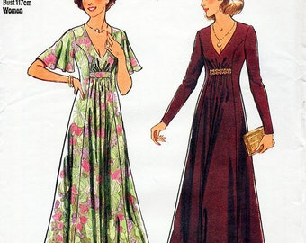 1970s Boho Maxi Dress Pattern Style 2077 Vintage Sewing Pattern V Neck Long Evening Gown Bust 40 & 42 Plus Size FF Unused