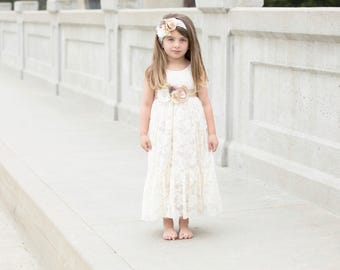 flower girl dress, lace flower girl dresses, ivory flower girl dress, rustic flower girl, country flower girl, champagne flower girl, baby