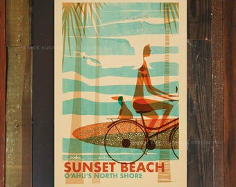 Sunset Beach Wahine - 12x18 Retro Hawaii Travel Print