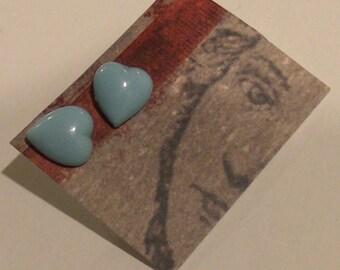 Heart Earrings - Robins egg blue antique Victorian glass