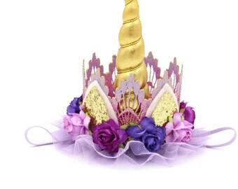 Unicorn flower lace crown headband || gold + lavender + purple || Rapunzel Unicrown