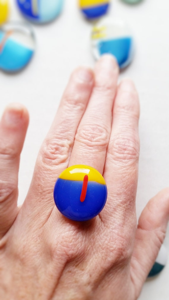 Glass Ring - Blue, Yellow and Red, Silver Band (Adjustable)