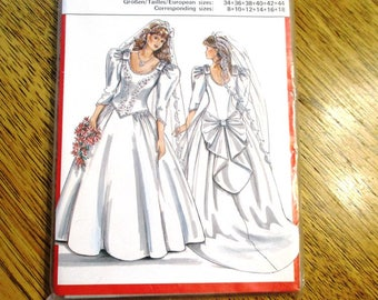 TRADITIONAL 1980's Princess WEDDING Gown w/ Dropped Waist, Puff Sleeves & Train - Size (10 - 18) - UNCUT Sewing Pattern Burda 5997