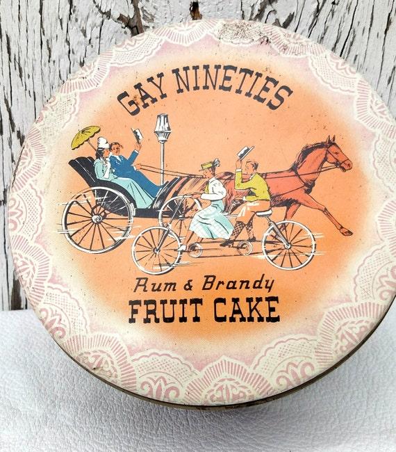 Vintage Gay Nineties Rum and Brandy Fruit Cake Tin