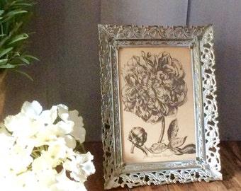 Vintage Framed Print / Piony Print / Whitewashed Metal Frame with Floral Print / Filigree Frame