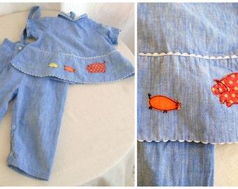 Vintage Baby Overalls and Top 1960's Baby Denim Set Pig Appliqués