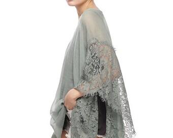 Cotton and Lace Cover Up, Cotton Kimono Wrap, Boho Cover Up, Cotton Tunic, Boho Tunics, Beach Coverup, Tunic, Plus Size, womens tunics