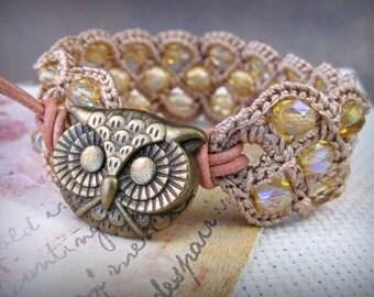 Bohemain Jewelry Wide Cuff Bracelet, Light golden amber bracelet, Gypsy Owl jewelry