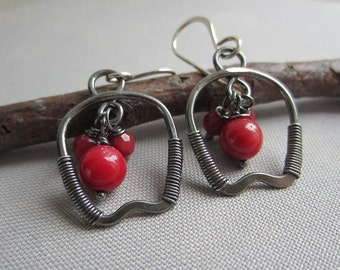 Sale 20% off/ Coral Earrings/ Silver Wire Earrings/ Oxidized Silver Earrings/ Red Coral Earrings/ Red bamboo Coral