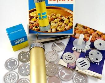 Vintage Cookie Press SAWA 71 Spritz Cookie Biscuit Maker Complete Recipes Instruction Book Box Made in Sweden
