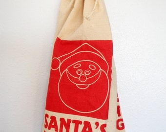 "Vintage Bon Marche ""Santa Bag"" Canvas Bag Gift Wrap Cool Retro Large Present Package Red Cream"