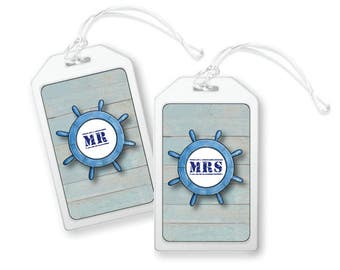 Mr and Mrs Luggage Tag, Nautical Bag Tag, Cruise Luggage Tags, Ship Wheel Luggage Tag, Wedding Luggage Tags, Mr and Mrs Gifts, Travel Tags