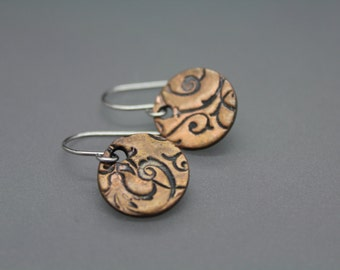 Copper Earrings, Circle Earrings, Textured Earrings, Mixed Metal Jewelry, Disc Earrings, Everyday Earrings, Simple Earrings, Swirl Jewelry